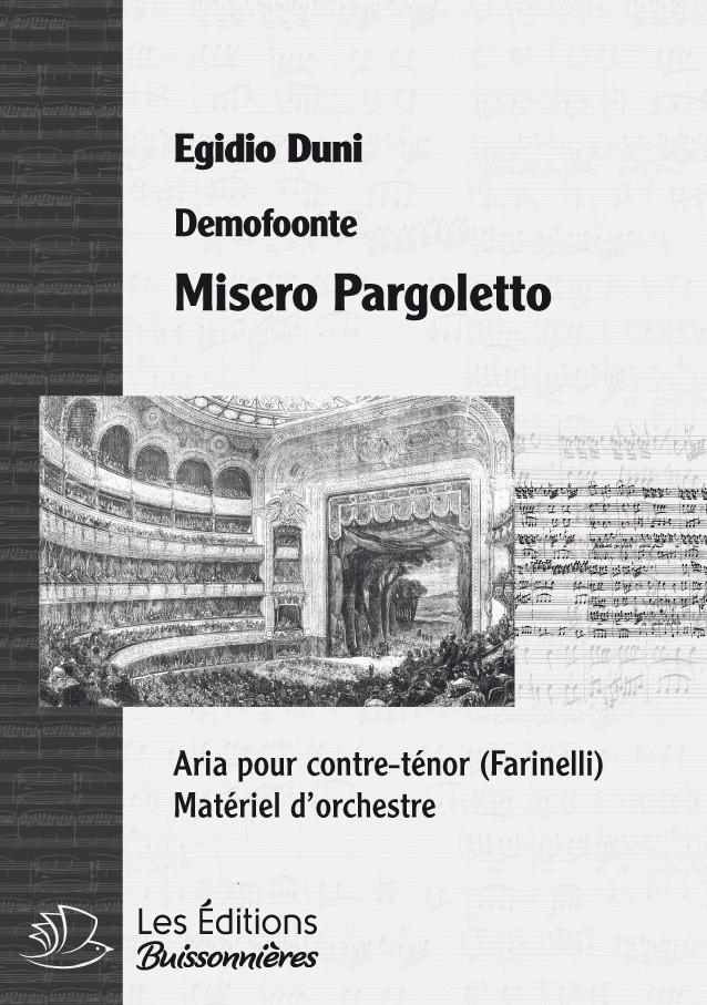 DUNI : Misero pargoletto (Demofoonte) pour chant et orchestre