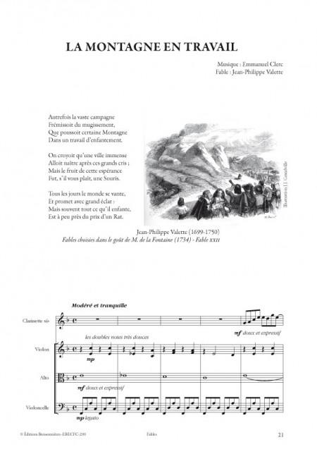 Emmanuel Clerc : Fables, pour clarinette et trio à cordes