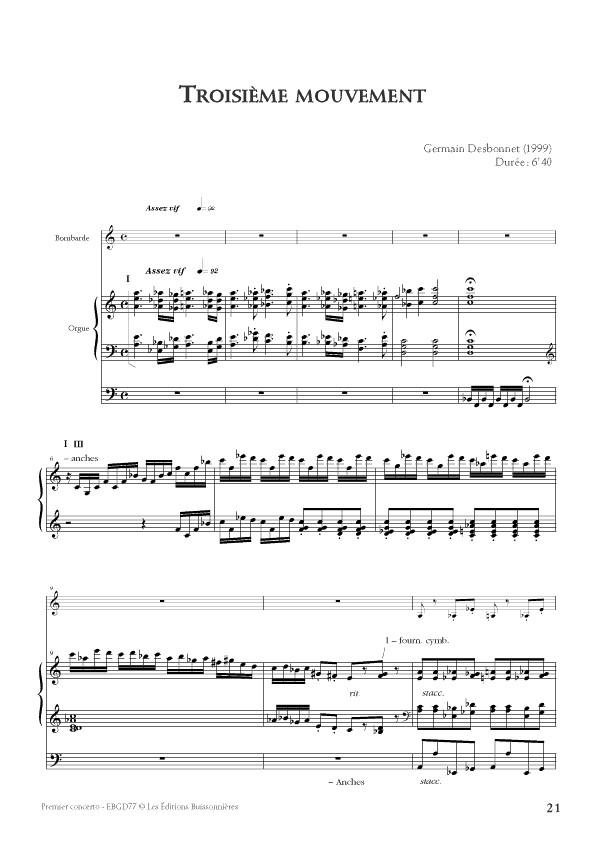 Desbonnet partition du 1er Concerto pour bombarde et orgue