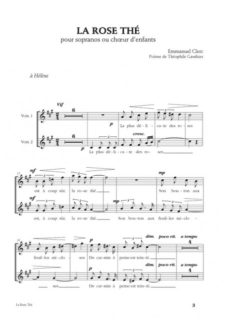 Emmanuel Clerc, [I]Trois mélodies à deux voix[/I]