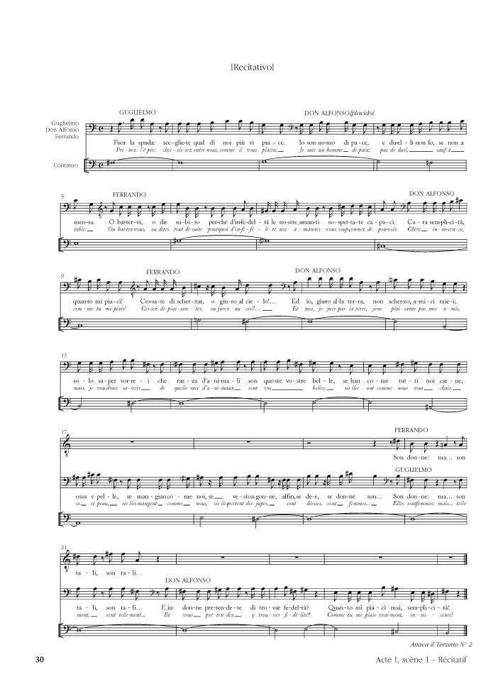 Cosi fan tutte (opéra de W.A. MOZART K588) matériel d'orchestre