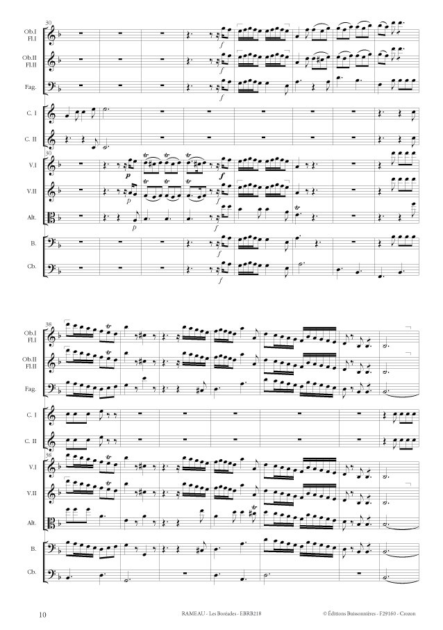 Rameau, Les Boréades, Ouverture - matériel d'orchestre