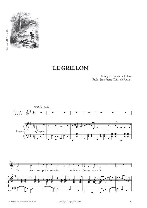 Emmanuel Clerc : Fables, pour soprano et piano