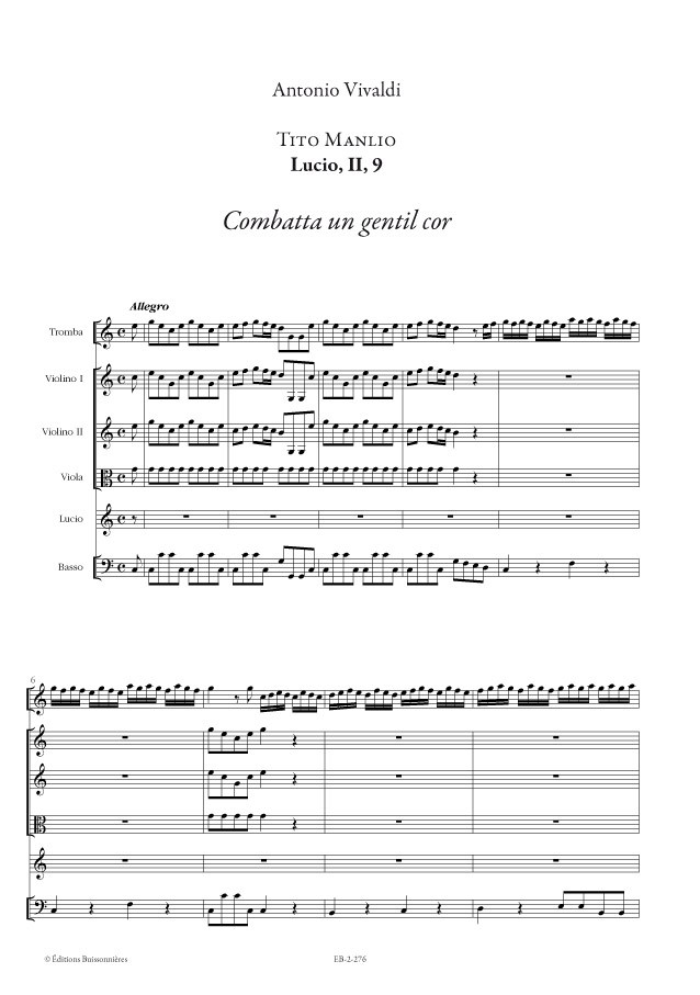 VIVALDI : Combatta un gentil Cor, matériel d'orchestre