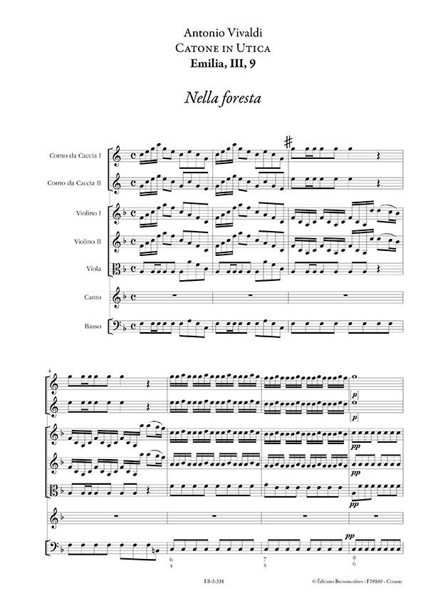 Nella foresta (Vivaldi, Catone in Utica), matériel d'orchestre
